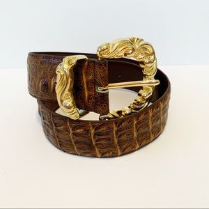 Vintage Inspired Croco Embossed Leather Cinch Belt